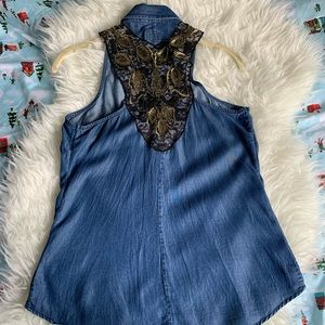 GUESS Denim Button-Up Top with Beading - XS